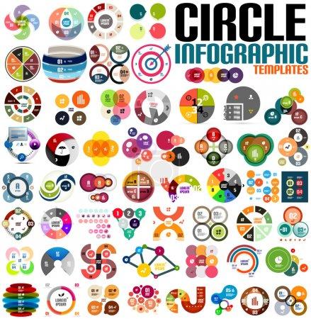 Illustration pour Enorme cercle moderne infographie modèle ensemble. Pour bannières, milieux d'affaires, présentations - image libre de droit