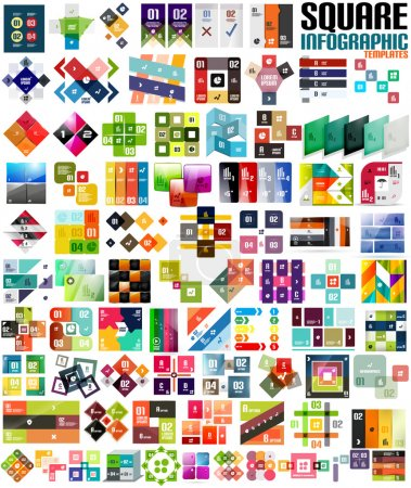 Photo for Big set of infographic modern templates - squares. Geometric shapes. For banners, business backgrounds, presenations - Royalty Free Image