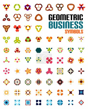 Set of colorful editable business symbols
