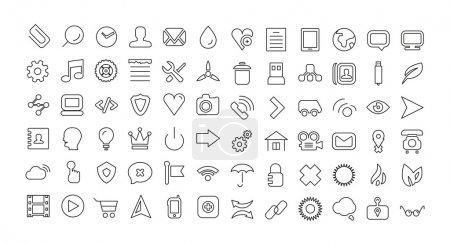 Illustration pour Ensemble d'icônes de ligne Web. Icônes minces universelles - image libre de droit