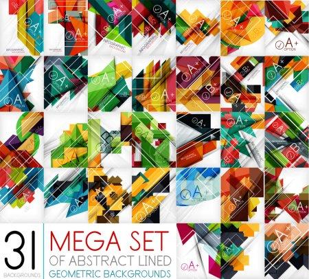 Mega set of geometric shaped line backgrounds