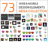 Mega collection of web mobile design elements - icons buttons illustrations