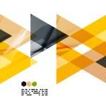 Bright yellow and dark textured geometric shapes i...