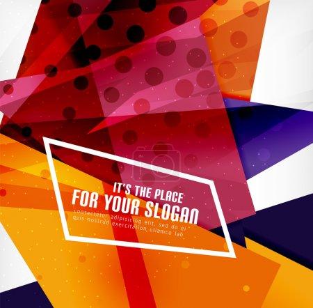 Illustration pour Triangles 3d brillants modernes se chevauchant en différentes couleurs avec texture et effets de lumière. Brochure d'entreprise fond design avec copyspace - image libre de droit