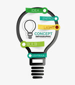 Light bulb infographic concept Modern flat paper line art design with tags or your options on transparent stickers