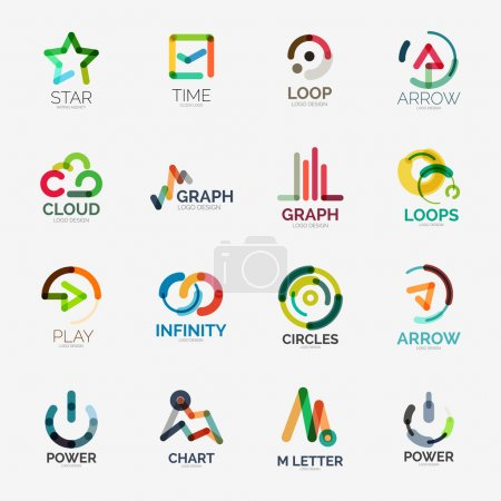 Illustration for Abstract company logo vector collection - 16 line style business corporate logotypes - Royalty Free Image