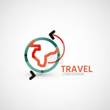 Illustration pour Vecteur voyage entreprise création de logo - globe terrestre et volets-flèches, concept de symbole commercial, conception de ligne minimale - image libre de droit