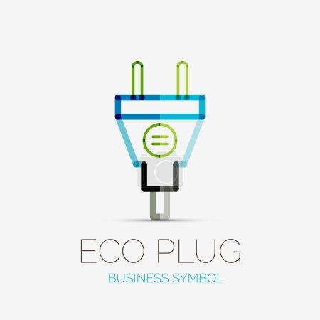 Illustration pour Conception vectorielle de logo d'entreprise de fiche écologique, concept de symbole d'entreprise, style de ligne minimal - image libre de droit