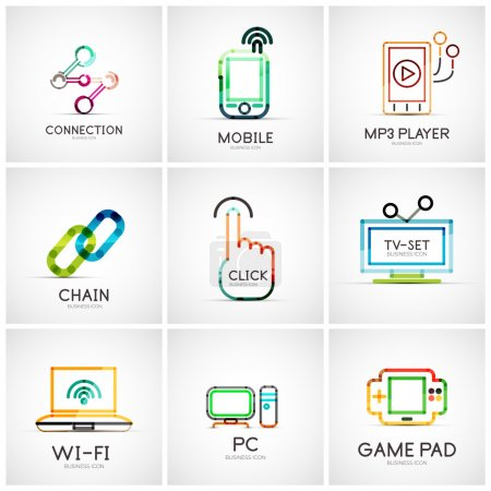 Illustration for Set of various company logos, business icons. Connection chain mobile phone mp3 player click hand finger pointer tv set wifi pc laptop gamepad - Royalty Free Image