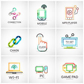 Set of various company logos business icons Connection chain mobile phone mp3 player click hand finger pointer tv set wifi pc laptop gamepad
