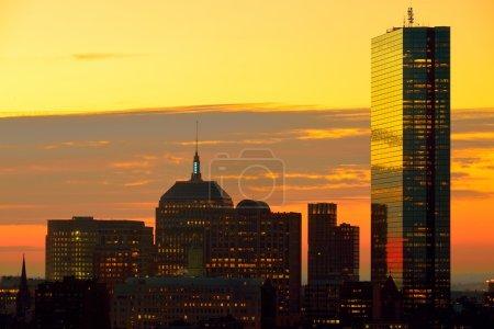 Dramatic sunrise over Boston Downtown
