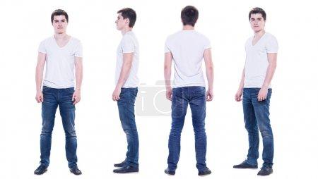 Photo pour Collage photo d'un jeune homme en t-shirt blanc isolé, devant, dos, vue latérale . - image libre de droit