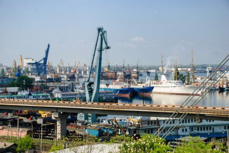 Sea port with cranes and ships