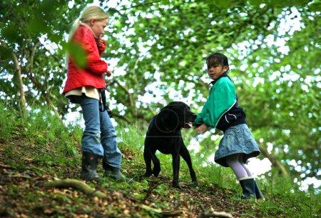 Photo pour Filles marchant dans la forêt avec chien - image libre de droit