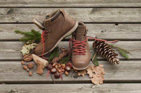 Foto de Botas marrones luz sobre suelo de madera - Imagen libre de derechos