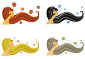 Stylized women illustration representing the 4 seasons