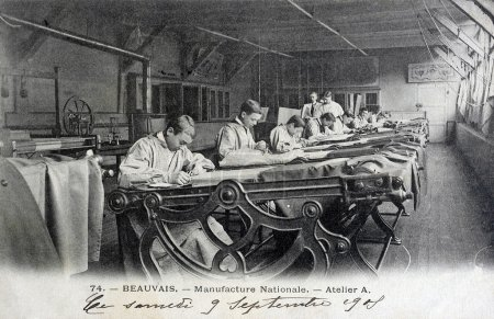 Old postcard, Beauvais, national manufacturing