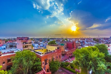 cityscape of Bikaner, old indian City in Rajasthan with a famous