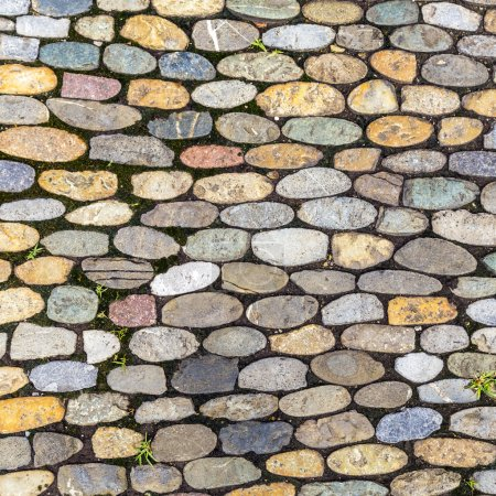 Background of cobblestone pavement