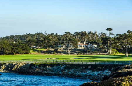 Beautiful houses near the Pfeiffer beach in California with golf
