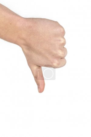 Photo for Thumbs down sign isolated on white - Royalty Free Image