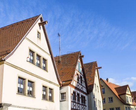 Gable roof of traditional German half-timbered house in medieval