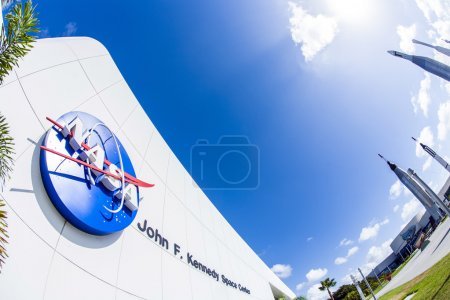 Nasa icon at the entrance of Kennedy space center