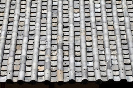 Asian old roof clay tiles