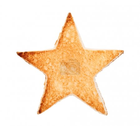 Photo for Slice of bread toast cut shape of star, isolated on white background - Royalty Free Image