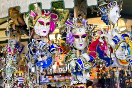 Showcase in the store with venetian mask