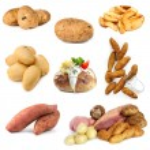 Various potato images, isolated on white backgroun...