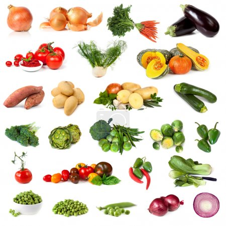 Photo for Collection of vegetable images, isolated on white. - Royalty Free Image