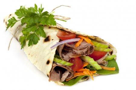 Beef Wrap Sandwich Isolated