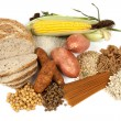 Food sources of complex carbohydrates, isolated on...