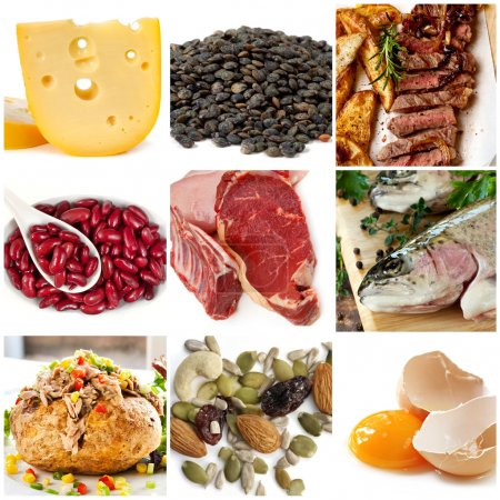 Photo for Food sources of protein, including cheese, lentils, red and white meat, kidney beans, fish, tuna, nuts and eggs. - Royalty Free Image