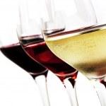 Three wine glasses over white background. White wi...