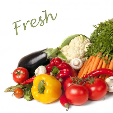 Photo for Collection of fresh vegetables, over white background. - Royalty Free Image