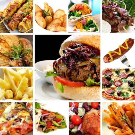 Photo for Collage of fast food items, including burgers, wraps, chicken, kebabs, fries and hot dog. - Royalty Free Image