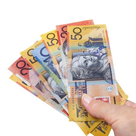 Handful of Australian Money Isolated