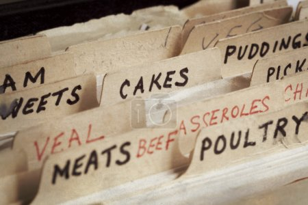 Photo for Old recipe box, with sections for cakes, meats, etc. - Royalty Free Image