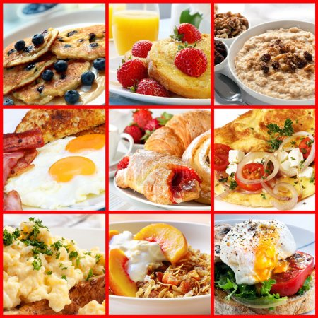 Photo for Collage of breakfast images. Includes pancakes, french toast, oatmeal, bacon and eggs, continental, omelet, muesli, and poached egg. - Royalty Free Image