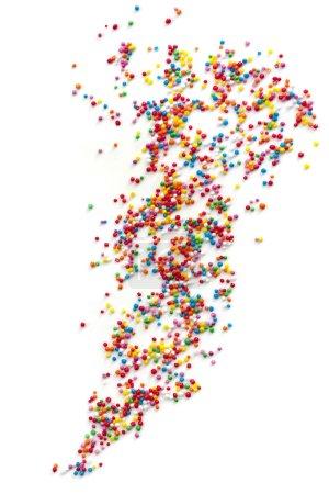 Cake Sprinkles Scattered over White Background