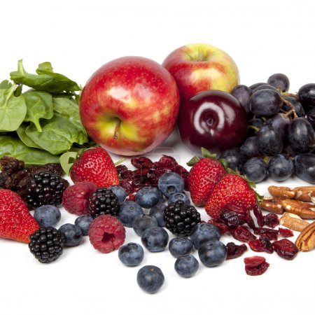 Photo for Foods rich in antioxidants, over white background. - Royalty Free Image