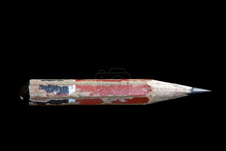 Photo for Pencil stub isolated on black background. - Royalty Free Image