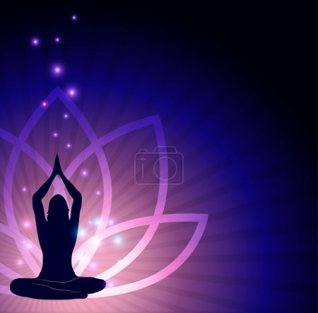 Illustration for Beautiful lotus flower and woman in yoga pose in the front and sparkling lights. Beautiful harmonic colors. - Royalty Free Image