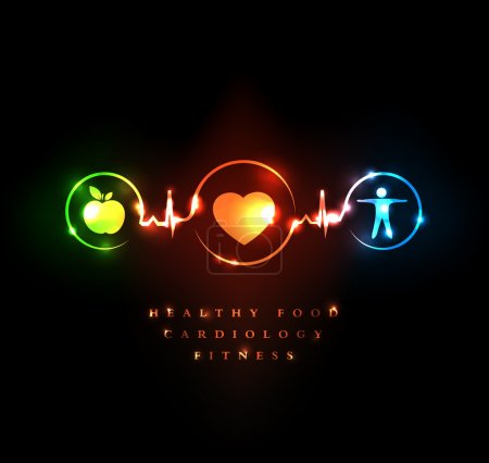 Illustration for Medical and Wellness symbol. Healthy food and fitness leads to healthy heart and healthy life. - Royalty Free Image