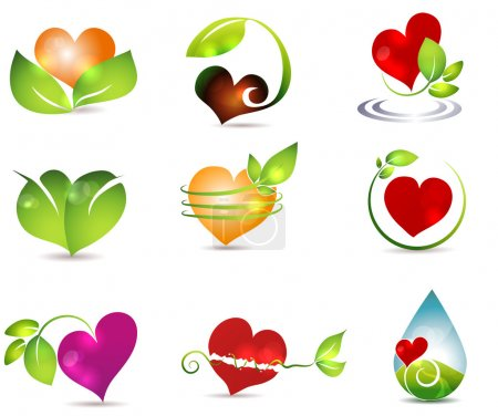 Illustration for Heart and nature symbols. Bright and clean designs. Beautiful color combinations. Nature healing power. - Royalty Free Image