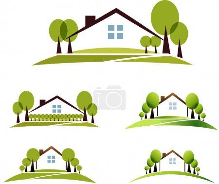 Illustration pour Maison et jardin illustration collection. beau jardin, arbres et pelouse. isolé sur fond blanc. - image libre de droit