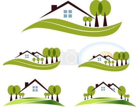 Illustration pour Collection d'illustration maison et arbres abstraite. beau jardin, arbres et pelouse. isolé sur fond blanc. - image libre de droit