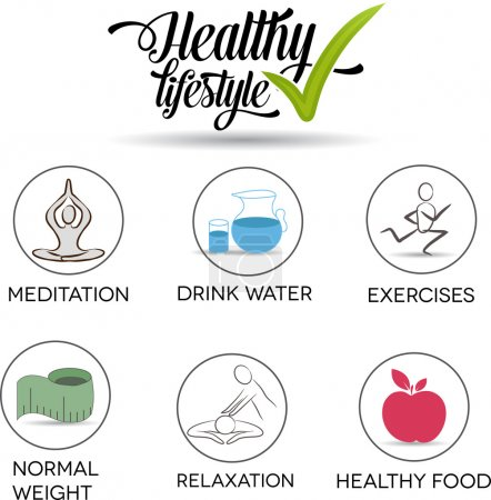 Illustration for Healthy lifestyle symbol collection.Healthy food, exercises, normal weight, drinking water, relaxation and meditation. Isolated on a white background. - Royalty Free Image